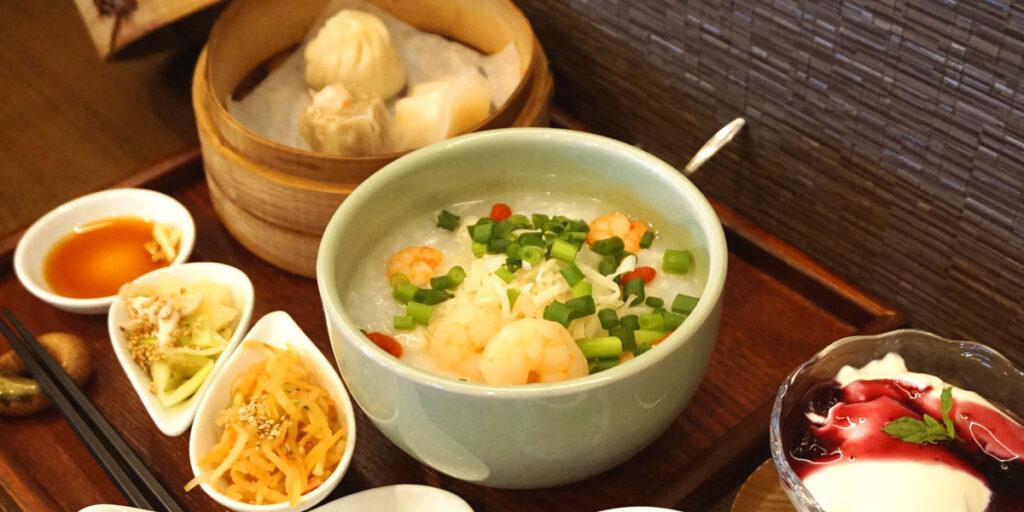 海老と貝柱の中華粥ディナーセット