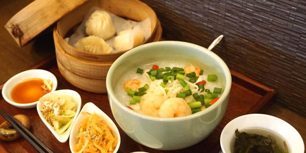 海老と貝柱の中華粥ランチセット