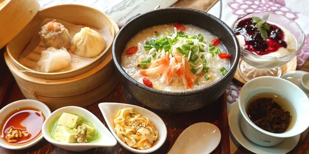 蟹とあさりの中華粥ディナーセット