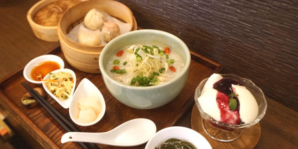 鶏と根菜の中華粥ディナーセット