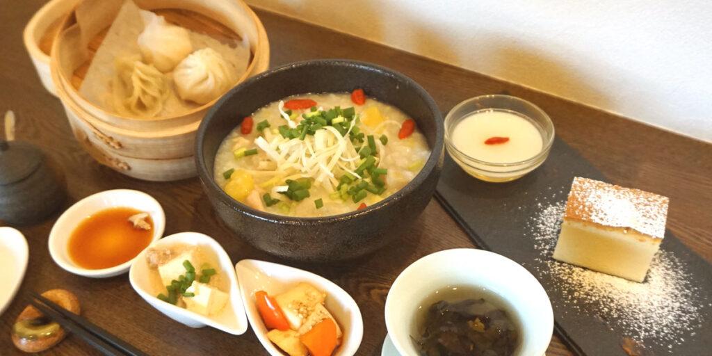 鶏と根菜の中華粥ランチセット